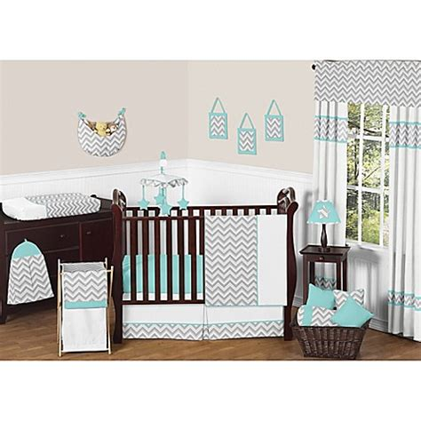 Grey And Turquoise Crib Bedding Buy Sweet Jojo Designs Zig Zag Chevron 11 Crib Bedding Set In Turquoise Grey From Bed Bath