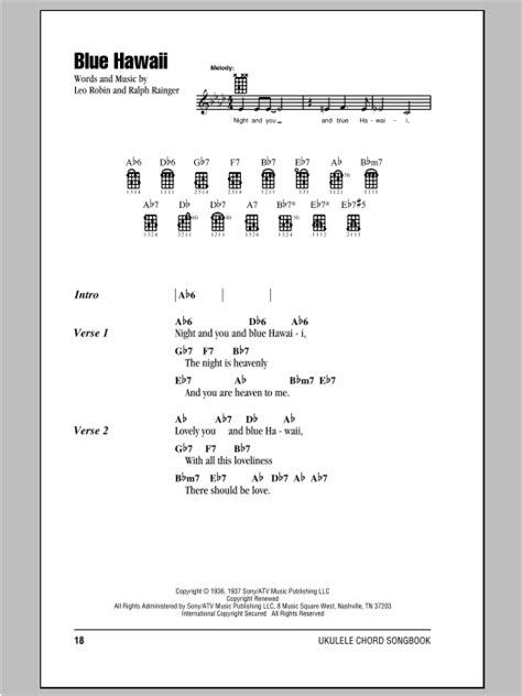 hawaiian strum pattern ukulele blue hawaii sheet music by elvis presley ukulele with