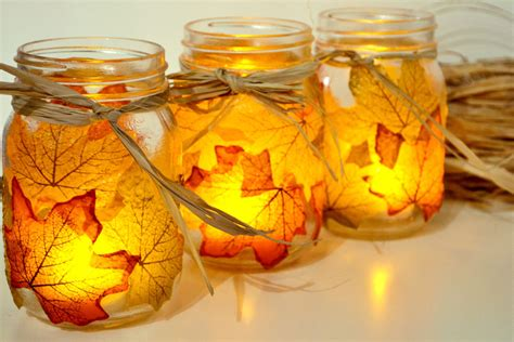 Inexpensive Ways To Decorate Your Home by Autumn Leaf Mason Jar Candle Holder