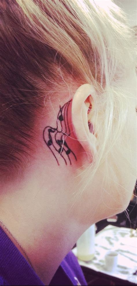my music note tattoo behind my ear tattoos
