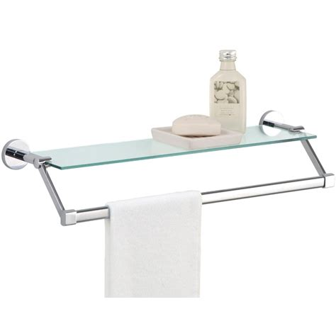 Bathroom Glass Shelves With Towel Bar Towel Rack With Shelf Glass In Bathroom Shelves