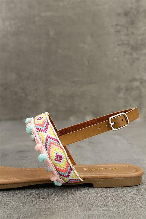 Sandal Wedges Oshin Flat Pompom Orin sandals embroidered sandals pompom sandals