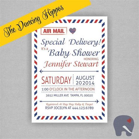 baby shower by mail invitations air mail special delivery baby shower invitation postcard