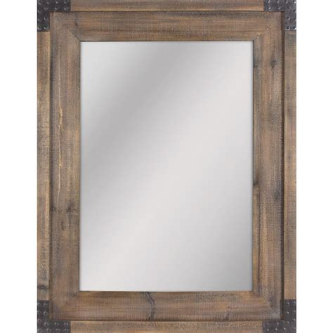 wood mirror bathroom shop allen roth reclaimed wood beveled wall mirror at