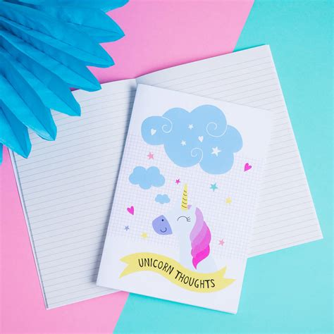 Unicorn A5 Notebook unicorn a5 lined notebook by paper craze