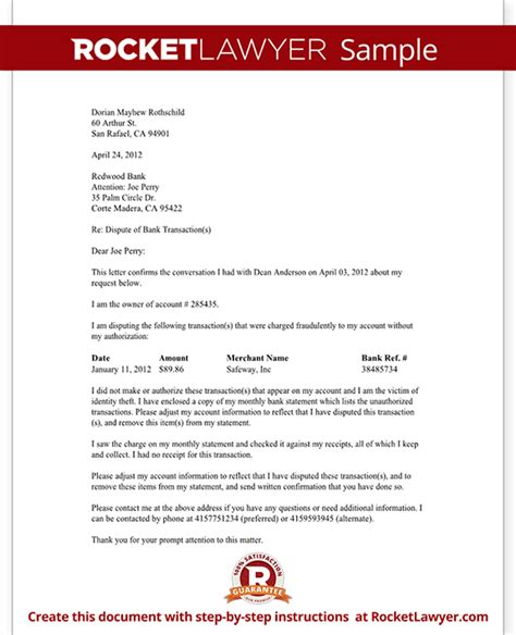 Dispute Letter To A Bank Dispute Fraudulent Bank Transaction Letter With Sle
