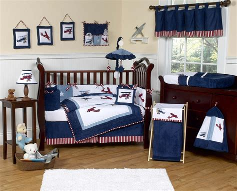 navy blue vintage airplane baby boy crib bedding set 9pc