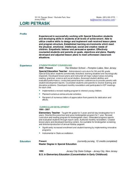 Resume Templates For Teachers Free by Resume Templates Easyjob