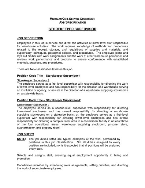 supervisor description for resume berathen