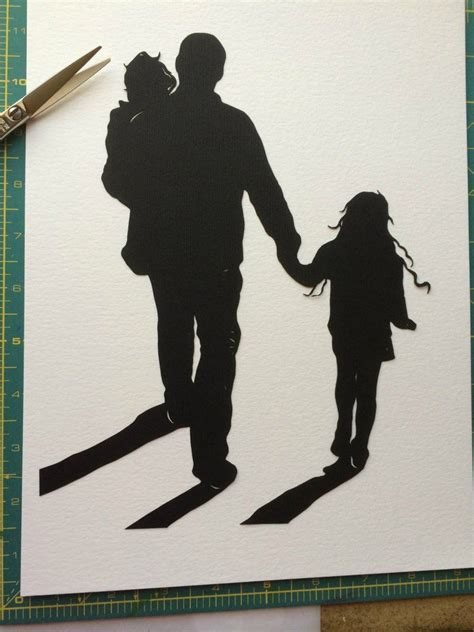 silhouette tattoo paper 9 by 12 custom family portrait silhouette