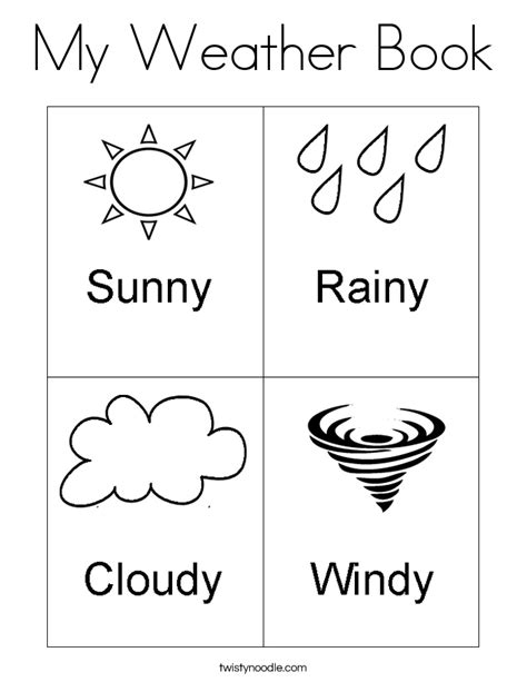 Weather Coloring Pages For Preschool | my weather book coloring page twisty noodle