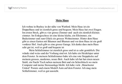 Mein Haus Essay In German by Mein Haus Gcse Modern Foreign Languages Marked By Teachers