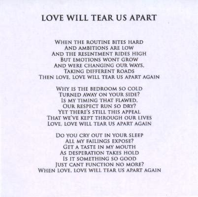 love will tear us appart love will tear us apart