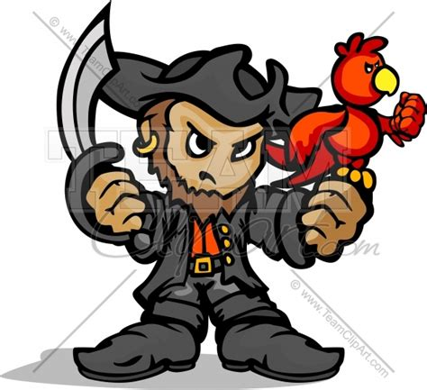 Pirate Mascot Clipart pirate mascot standing with sword parrot and hat