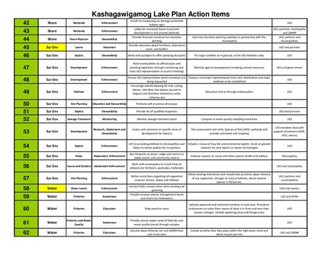 prioritized action list lake kashagawigamog organization