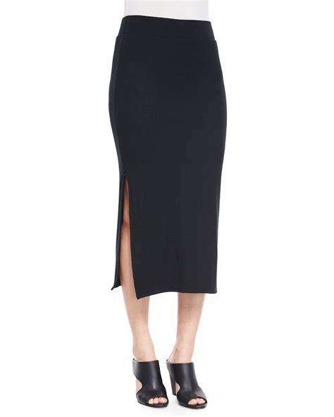 Slit Side Knit Midi Skirt atm side slit knit skirt in black lyst