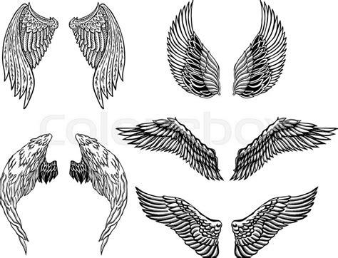 Aquila Tribal Set heraldic wings set for or mascot design stock