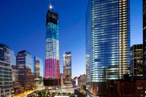 911 Lights Memorial by One World Trade Center Freedom Tower Is Rising To