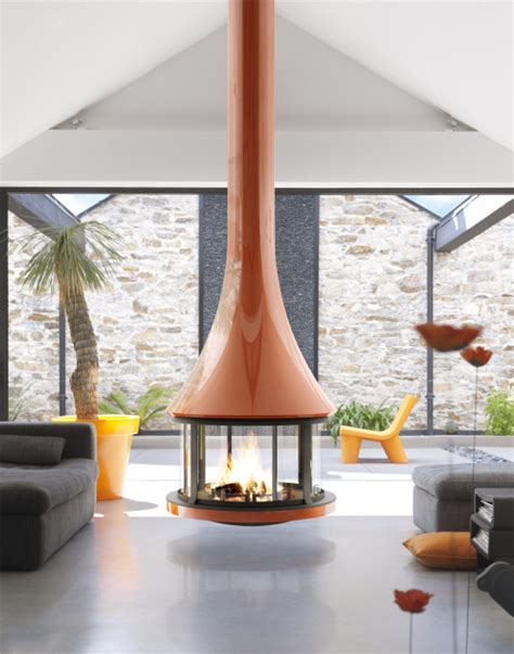 Circular Fireplace by Suspended Fireplace With Glossy Burnt Orange Finish