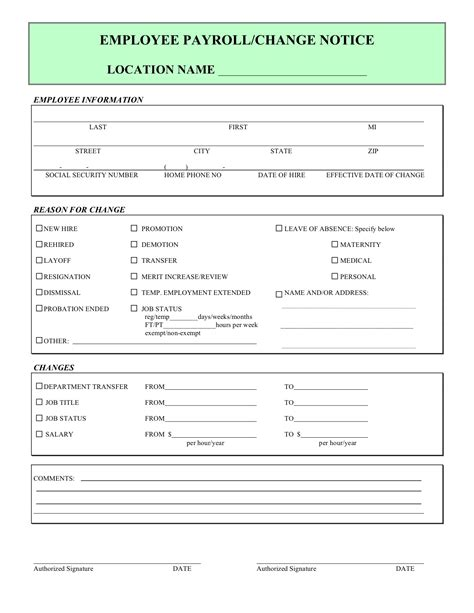 payroll status change form template employee payroll changes forms cookingdistrict