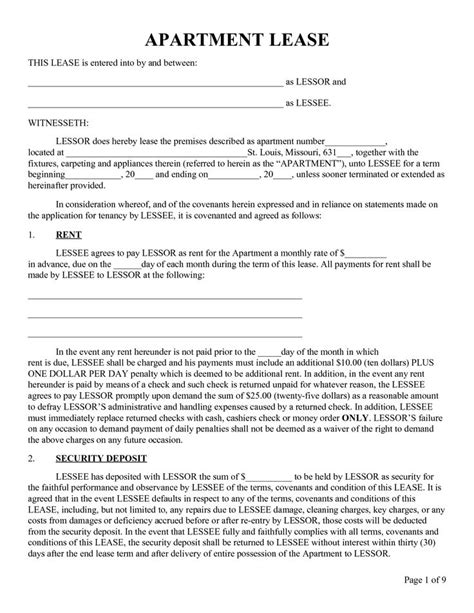 Apartment Rental And Lease Agreements Template Sle Vlashed Free Printable Lease Template