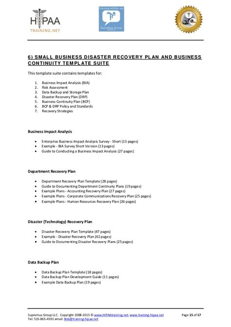 Hipaa Compliance Template Suites Hipaa Disaster Recovery Plan Template
