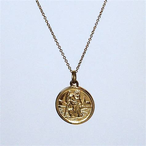 9ct gold st christopher pendant by hersey silversmiths