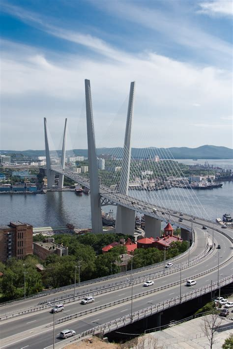 zolotoy bridge vladivostok russia  infrastructureporn