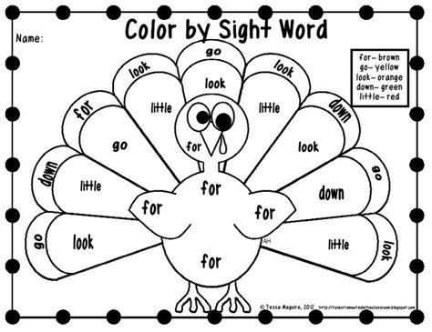 color word worksheets free color by sight word printables thanksgiving