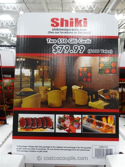 Costco Dining Gift Cards - shiki restaurants discount gift card
