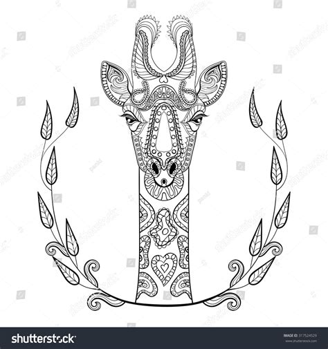 zentangle giraffe coloring pages zentangle giraffe head totem frame adult stock vector