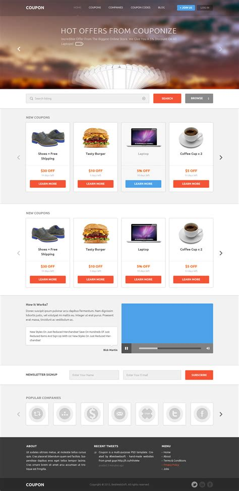 web layout code coupons and promo codes psd template by the webdesign on