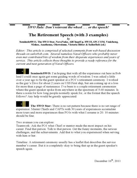 retirement speech template free download