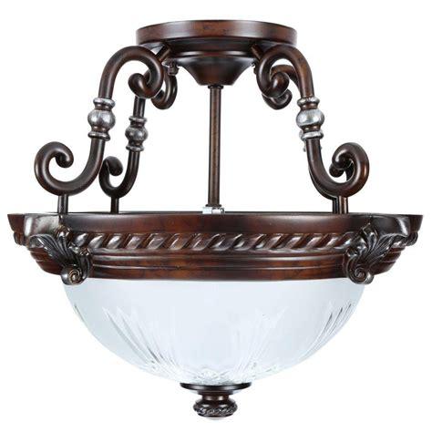 semi flush mount light fixture hton bay bercello estates 2 light volterra bronze semi