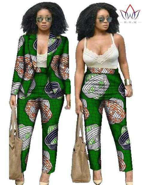 african print two piece outfits for women 2 piece set pants and crop top plus size women african
