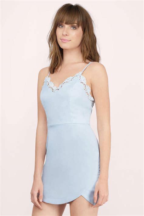 Id 2298 Blue Bodycon Dress light blue dress lace trim dress light blue tank dress