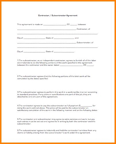 contractor subcontractor agreement template 10 subcontractor agreement template cashier resume