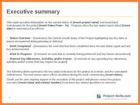 executive summary project status report template 7 executive summary report exle template progress report