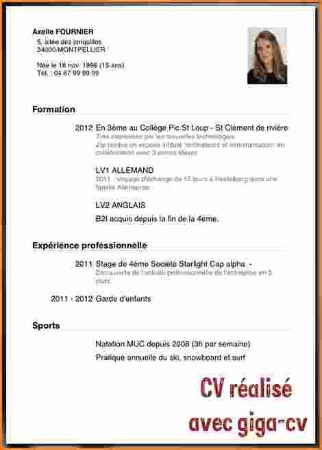 Exemple Pour Faire Un Cv by Comment Faire Un Cv En 3eme Sprookjesgrot