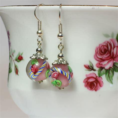 bead earrings glass bead earrings