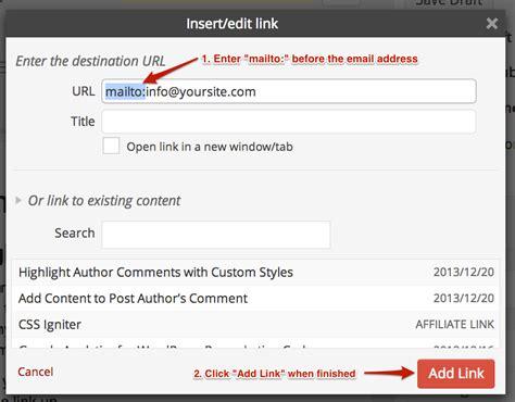 wordpress tutorial hyperlink how to create a wordpress email link in wysiwyg editor