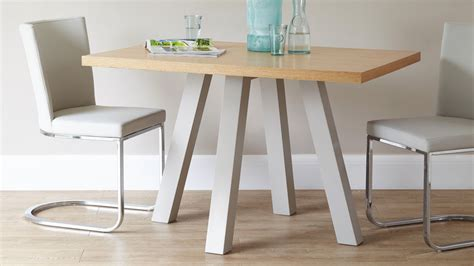 contemporary oak cross 4 seater dining table uk