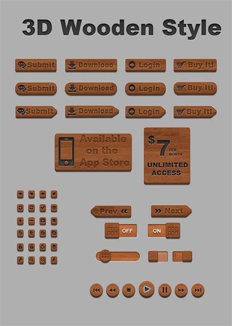 design menu buttons free psd wooden style 3d buttons designbeep