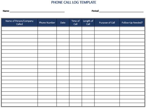 call to template 5 plus call log templates to keep track your calls