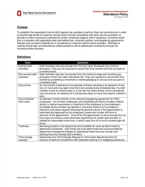 9 attendance policy templates free pdf format download