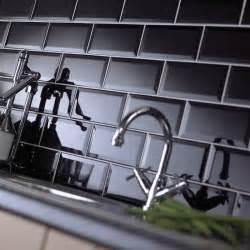 kitchen wall tiles metro bevelled edge tile black 200mmx100mm metro
