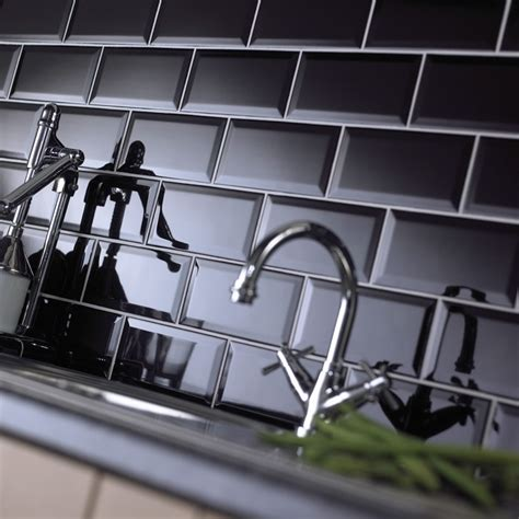 Mini Subway Tile Kitchen Backsplash by Metro Bevelled Edge 200x100 Black Tile 1484 Metro