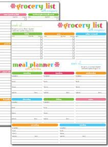 free #printable grocery list & meal planner | household
