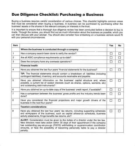 9 Due Diligence Checklist Templates To Download Sle Templates Technical Due Diligence Report Template
