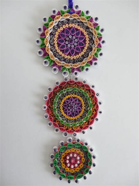 purple themed floral paper quilled wall hanging decoration